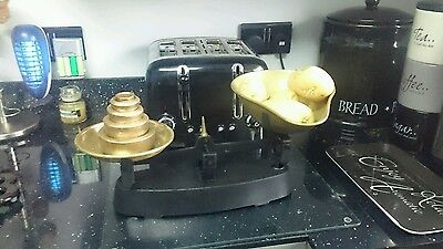 Vintage style brass kitchen scales with cast weights
