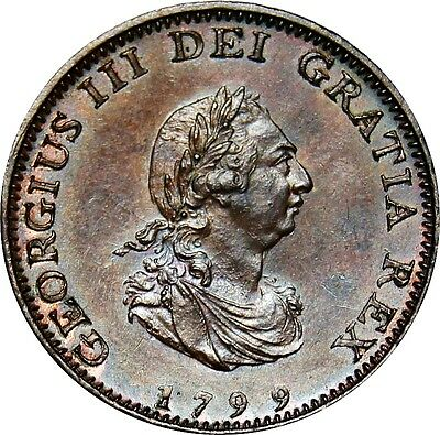 1799 Copper Farthing, George III. Uncirculated.  Spink £70.00 in EF