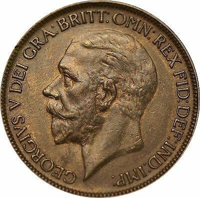 1926 ME, George V, Bronze Penny, Very Rare. Extremely Fine or Near So.