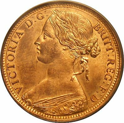 1862 Penny, Victoria, Uncirculated.  Spink £ 375 Uncirculated.