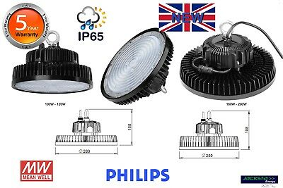 Led Low Bay Lights Ufo Meanwell Driver And Philips Led Uk Stock 5 Year Wa.