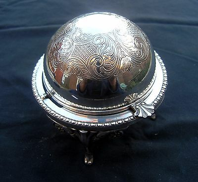 Vintage Roll Top Butter / Condiment Dish - Silver Plated - Made in England