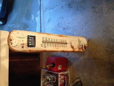 Vintage Delco Battery Tin Thermometer Sign Nos Non Porcelain Antique Gas Station