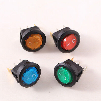 4Pcs LED Light Round Rocker Switch Auto Boat ON-OFF Electric Accessories