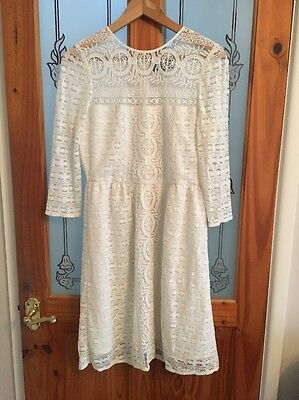 AM London Women's Lace Dress, White, Size 8