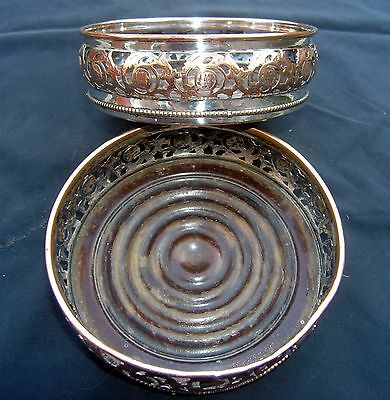 Pair of Antique Mahogany & Silver Plate Decanter Trays / Stands / Coasters