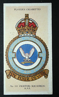 NO 151  SQUADRON  RAF Fighter Command   Original Vintage Card