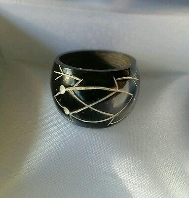 Wood Carved Ring Painted Black With Carved Frog Inlay Tribal Sz 3.5
