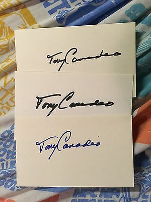 Lot Of 3 Autographed Index Cards Tony Canadeo Green Bay Packers HOF Football!!!!