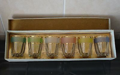 set of 6 small vintage frosted glasses