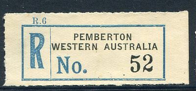 WA 'Pemberton' light blue and black registration label very low#