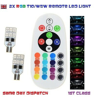 2x t10 w5w 12 led RGB Colors Bulb With Remote Controller Flash/Strobe LIMO TAXI