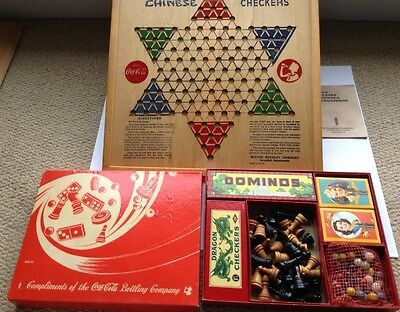 COCA COLA 1940s GAME SET DOMINOS CHINESE CHECKERS CARDS WWII TROOPS MINT COKE
