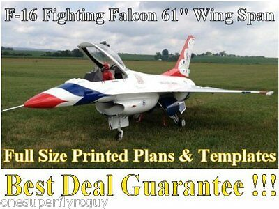 """F-16 Falcon 61"""" WS Giant Scale RC Airplane Full Size PRINTED Plans & Templates"""
