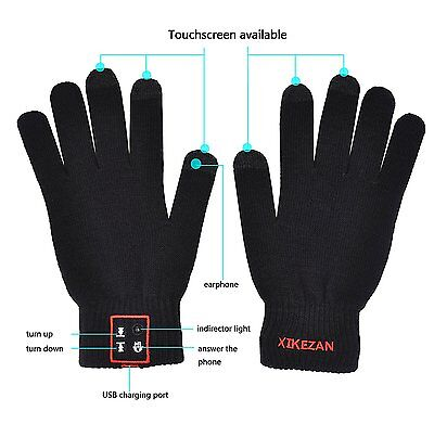 Bluetooth Gloves Touch Screen Mittens Hands Free Phone Headset