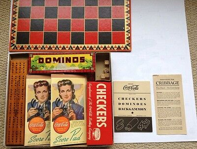COCA COLA 1940s GAME SET DOMINOS CHECKERS CRIBBAGE WWII TROOPS MINT COKE