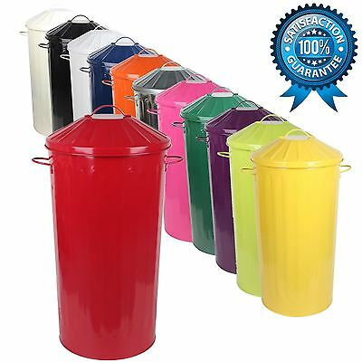 Metal 50 Litre Kitchen Round Colour Recycle Dustbin Rubbish Waste Bin with Lid