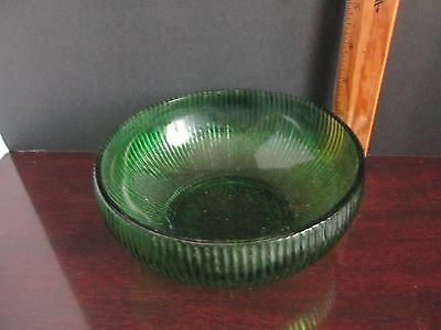 Eo Brody Co Cleveland O Usa Green Ribbed Glass Bowl