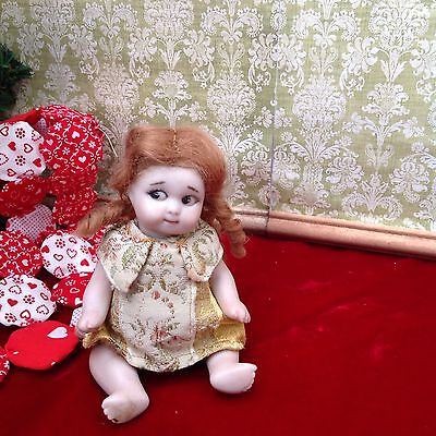 "Artist Repro Antique All Bisque Doll Googly Googlie 5""  Baby Painted Side Glance"