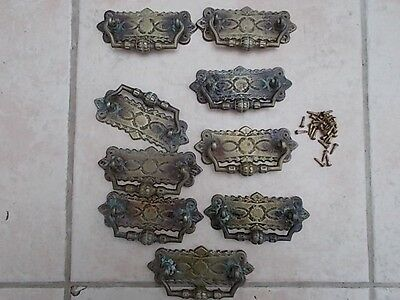 Good Set of 9 Antique Brass Handles