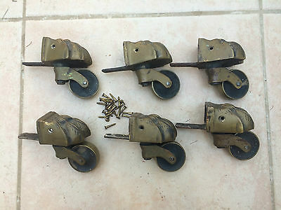 Good Set of 6 Solid Brass Lions Paw Castors