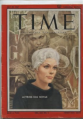 Old July 29, 1957 Canadian Edition Time Magazine Actress Kim Novak