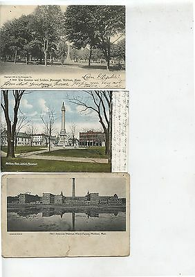 3 Antique Postcards Waltham Mass Soldiers Monument Watch Factory