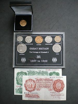 1957 Gold Sovereign Coin & Note set - 60th Birthday or Wedding Anniversary Gift.