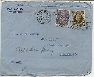 Old Vintage 1944 Postal Cover England to Canada North Atlantic Air Service