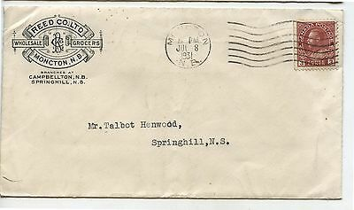 Old Vintage 1931 Advertising Postal Cover Reed Co Grocers Moncton NB