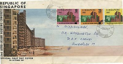 Old Oct 1967 FDC First Day Cover Singapore Stamps Housing Congress