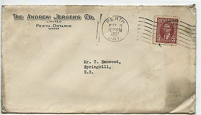 Old Vintage 1937 Advertising Postal Cover Andrew Jergens Co Perth Ontario