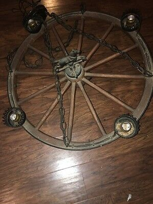 """Vintage 25"""" Wheel Chandelier With Cast-Iron Horse Decour And Metal Shades"""