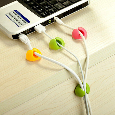 6Pcs Cable Drop Clip Desk Tidy Organiser Wire Cord Lead Holder New Supplies