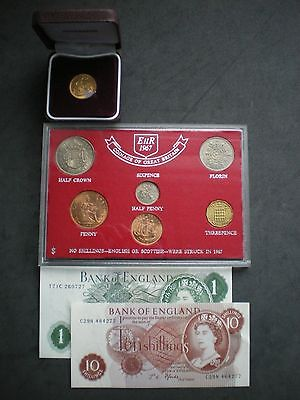 1967 Gold Sovereign Coin & Note set 50th Birthday or Wedding Anniversary Gift.