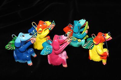 Set of 5 Colorful Ornaments, Dogs playing Instruments, Mexican folk art Ortega