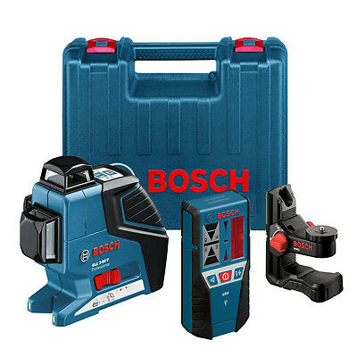 3 Plane Leveling and Alignment Laser w/ Receiver OB Bosch Tools GLL3-80-LR2