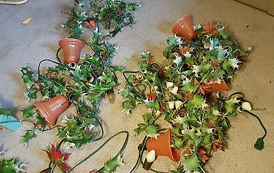 2 vintage christmas light up holly garland with bells