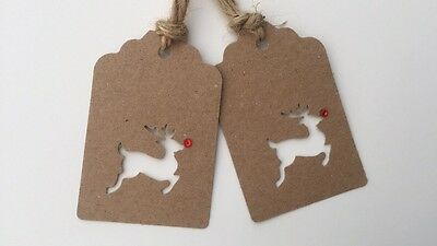 15 x Brown Kraft Gift Tags /Cut Out Reindeer / Red Gem Nose /Christmas / Vintage