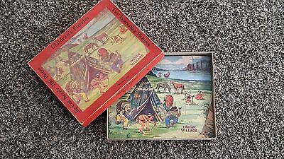 Rare Early 1900s Native American Indian RedFace Stereotype Jigsaw Puzzle in Box