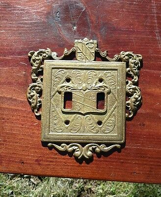 Vintage Virginia Metalcrafters Brass Ornamental Double Switch Plate Cover 24-18