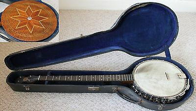 Marquetry-backed antique JOHN GREY & SONS 4 string BANJO with case
