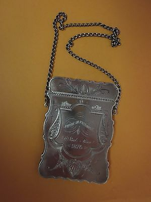 Wood & Hughes Victorian 1876 St. Paul, MN Sterling silver card case ~ BEAUTIFUL!