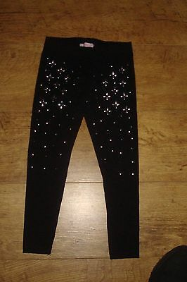 Girls 'butterfly' Black Studded Front Leggings, Age 5-6 Years