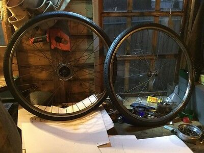 Vintage Raleigh 26 Inch Wheels With 3 Speed Hub 1950S