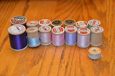 14 Vintage Wooden Spools Sewing Thread Mixed Lot Of Colors Sizes Makers