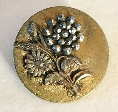 Cut Steel Flower Incised Brass Large Antique Metal Picture Button Old