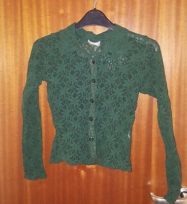Topshop Green Lace Shirt Top Cropped Size 10