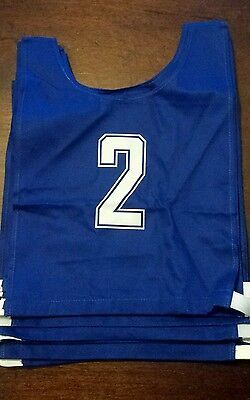 Set Of 10 Quality Junior Cotton Football Bibs Blue New