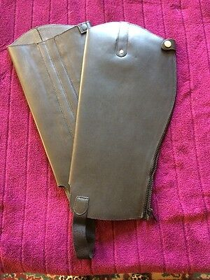 Dublin Black Leather Half Chaps Size 16/17 Large/extra Large. New